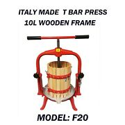 Italy Made Heavy Duty 10l T-handle Wooden Bucket Press For Wine/cider Making