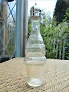 Antique Clear Glass Sugar Shaker With Silver Plate Screw On/off Top Lid