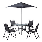 Outdoor Patio Dining Furniture Set W/ Included Umbrella And 4 Folding Chairs