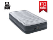 Inflatable Air Bed Mattress Built-in Pump Twin Size With Bag Gray 75x39x13 In