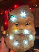 Hanging Light Up Santa Claus Face Plastic Jingle And Mingle Works Great 16 Tall