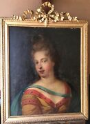 19th Century Antique Oil Painting French Romantism Portrait Diane The Huntress