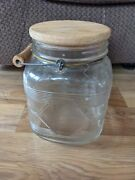 Vintage Glass Pickle Coffee Jar With Wooden Handle And Lid