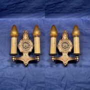 Pair Of Antique Arts And Crafts/art Deco Double Candle Wall Sconces 103b