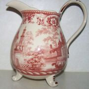 Vintage Red Transferware Pottery Footed Pitcher Mark 2 Lions And Crown Rampart Htf