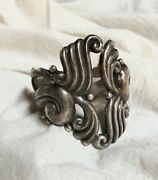 Antonio Reina Taxco Mexican 925 Sterling Silver Clamper Cuff Statement Bracelet