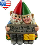 Garden Gnome Couple In Love Collectible Figurine Best Friends Lovers Statue