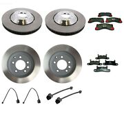 Front And Rear Disc Brake Rotors Pads And Sensors Kit For Porsche Cayenne 11-16