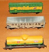 Ho Scale Lot Of 3 Train Cars Dupont Tank, Virginian Hopper And C.n.w. Livestock