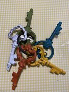 4 1/2 Inch Skeleton Keys On A Ring White Green Red Yellow Blue Decorative