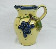 """Applied Grape And Vine 9"""" Pottery Pitcher - Artist Signed"""