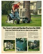 1969 Sears Lawn And Garden Tractors - Single Level Control Vintage Print Ad
