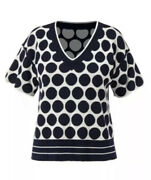 Cabi New Nwt Volley Pullover Size M 5641 Navy Blue White Reversible Was 94