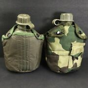 Lot Of 2 Vintage 1 Quart Canteens Olive Green Plastic W/ Covers