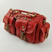 Isabella Fiore Womenand039s Satchels Red Leather Duffel Handbag Pocket Buckle