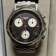 Longines Flagship 7281 Chronograph Black Dial Watch Discontinued Vintage 1980s
