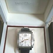 Saint Honore Paris Swiss Made Diamond Chronograph Wristwatch For Adult With Box
