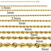 1.5mm-10mm 14k Solid Yellow Gold Women/ Menand039s Rope Chain Necklace 16-30