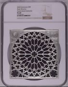 Ngc Pl69 Rose Window Of Notre Dame Solomon Islands Silver Coin 80g