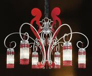 Suspended Lights Classic With Crystal Clear Red Silver