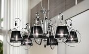 Suspended Lights Classic With Crystal Chrome And Lampshade Black