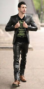 Men's Leather Pant Genuine Lambskin Leather Jean Style Slim Fit Casual Pant Mp38