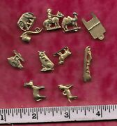 1940and039s Cracker Jack Metal Charms .. Lot Of 12 ..gold
