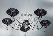 Suspended Lights Classic With Crystal And Lampshade Silver Black