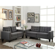 Contemporary Living Room Furniture Sofa Grey Linen Buttonless Tufted Tapered Leg