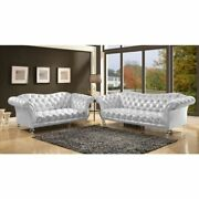 Contemporary Living Room Furniture Sofa Silver Fabric Button Tufted Acrylic Legs