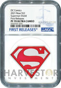 2021 Dc Comics Superman Shield - 1 Oz. Silver Coin - Ngc Pf70 First Releases