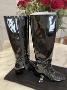 Black 15a Patent Calf Leather Knee High Tall Lace Up Boots/booties 36