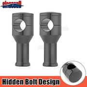 Black Hidden Bolt 4and039and039 Tall Handlebar Risers For Harley Models W/1.25and039and039 Clamp