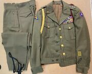 Vintage Ww2 Wwii 1940's Us Army Wool 'ike' Military Jacket, Pant, Shirt And Hats