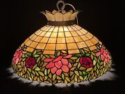 Large Antique Unique Art Glass And Metal Leaded Glass Lamp Shade Hanging Fixture