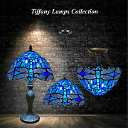 Vintage Lamps Room Lighting Blue Dragonfly Handmade Stained Glass Shade