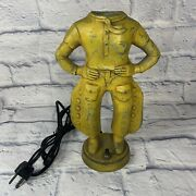 Rare 1930's Will Rogers Cast Metal Cowboy Lamp Rewired Nice Patina Western Old