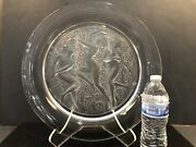 """16"""" Lalique Crystal Côte D'or Three Nudes Nymphs Charger Plate 15 Lbs W/stand"""