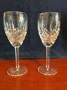 Rare Signed Pair Of Waterford Araglin Crystal Wine Glasses - John Stenson 2000
