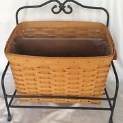Longaberger Newspaper Basket Protector Wood Divider Wrought Iron Stand 1999