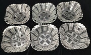Rare Set Of 6 Eapg Antique 1888 Bryce Bros Fish Scale Pattern Fruit Bowls