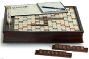 Scrabble Deluxe Wooden Edition With Rotating Game Board Raised Grid Brown Color