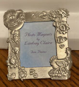 New Longaberger Rooster Basket Pewter Magnet Square By Lindsay Claire
