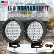Pair 280w Led Driving Lights Spot Spotlights Round Red Work Offroad Lamp 7 Inch