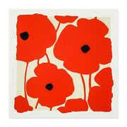 Donald Sultan And039three Poppies Redsand039 Signed Ltd. Ed. Silkscreen And Flocking Print