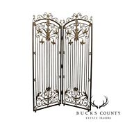Maitland Smith Iron And Bronze Rococo Style 2 Panel Screen, Room Divider