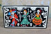 Day Of The Dead Skeletons Fiesta Handmade Lacquer Box Olinalá Mexican Folk Art