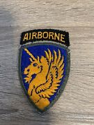 Original Ww2 Us Army Military 13th Airborne Division Patch Attached Tab W/ Khaki