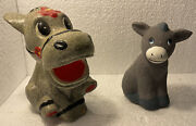 Lot Of 2 Vintage Donkey Jackass Piggy Banks Cute Fun Collectable Look