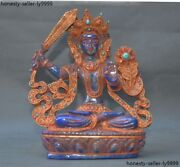 Lapis Lazuli Silver Filigree Inlay Turquoise Red Coral Wenshu Hold Sword Guanyin